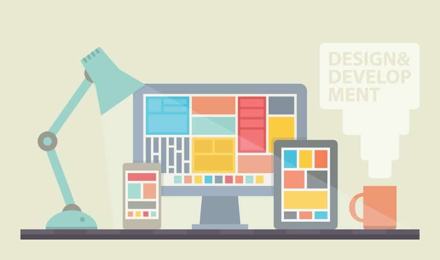 Flat design vector illustration of mobile and desktop website design development process with minimalistic modern digital tablet, desktop computer and smartphone on a designer workplace in stylish color. Isolated on beige background